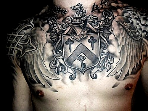 32 exemplos de tatuagens no peito for Irish canadian tattoos