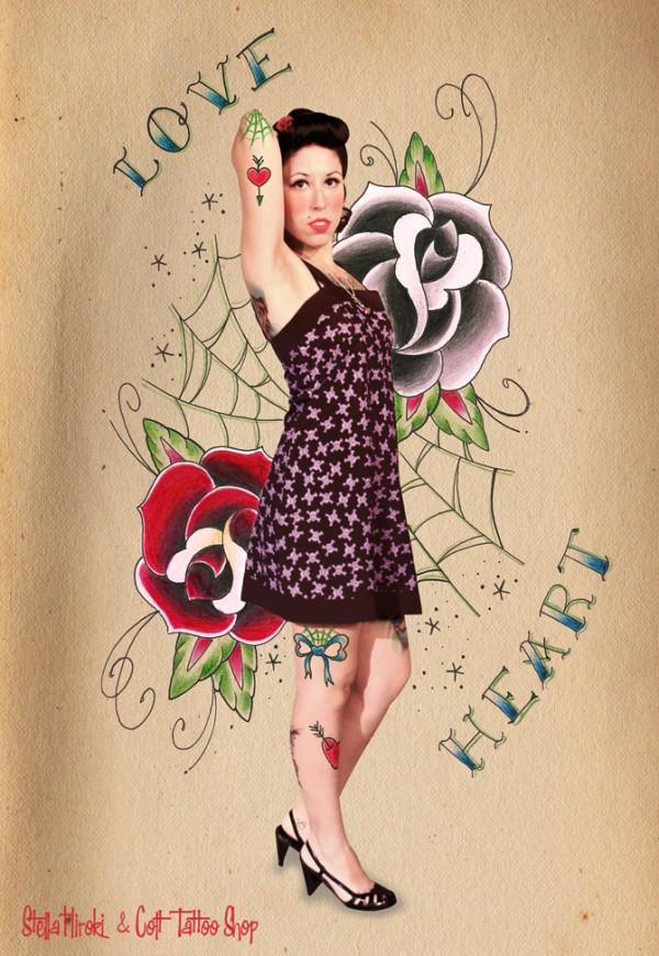 pin up tattoo love