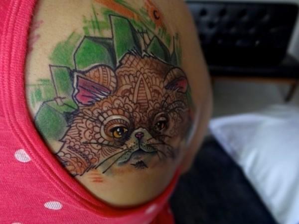 Lindas tatuagens de gatos 17